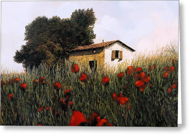 La Casetta In Mezzo Ai Papaveri Greeting Card by Guido Borelli