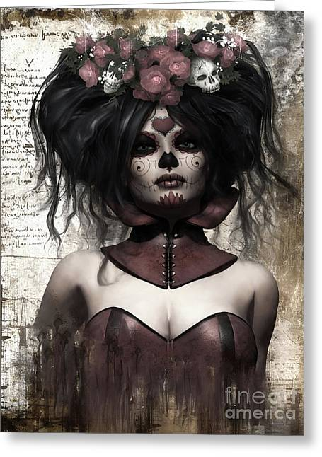 La Catrina Greeting Card by Shanina Conway