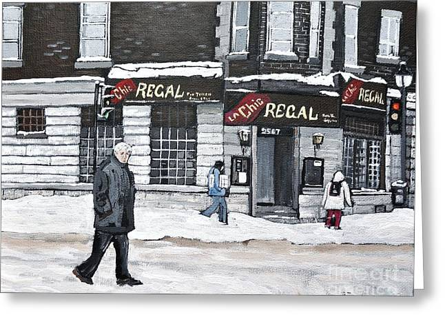 City Of Montreal Paintings Greeting Cards - La Chic Regal Pointe St. Charles Greeting Card by Reb Frost