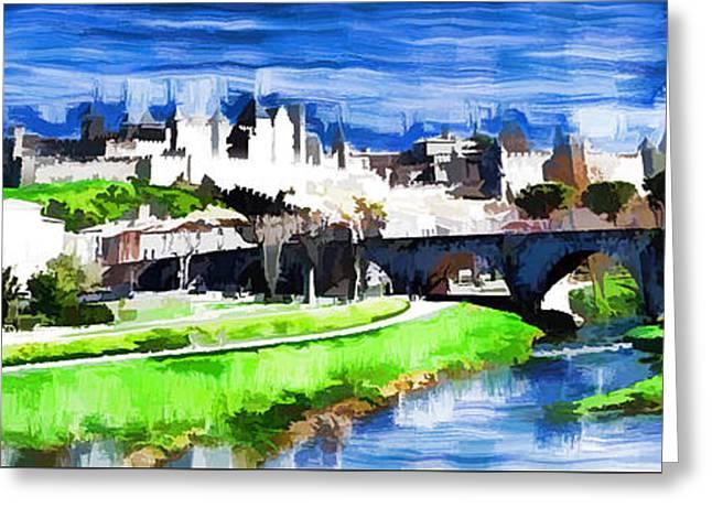 Languedoc Digital Greeting Cards - La Cite de Carcassonne Greeting Card by Kris Woo