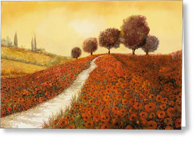 Cypress Greeting Cards - La Collina Dei Papaveri Greeting Card by Guido Borelli