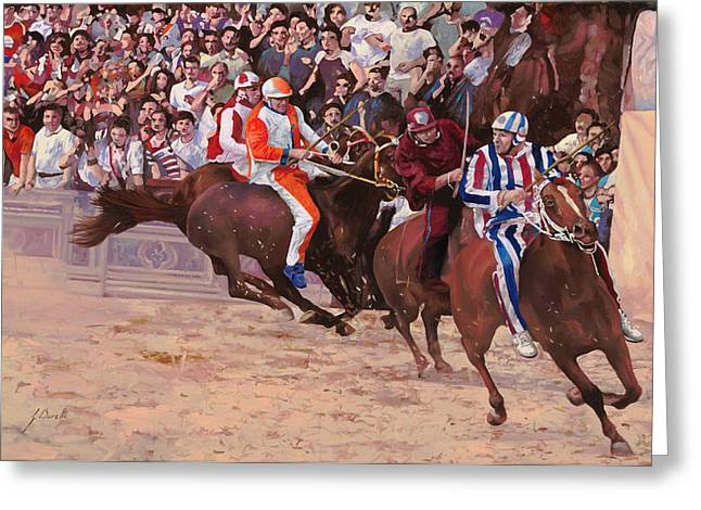 Campo Greeting Cards - La Corsa Del Palio Greeting Card by Guido Borelli