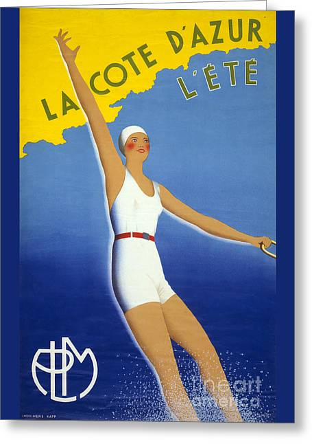 Europe Mixed Media Greeting Cards - La Cote dAzur lete Vintage Poster Restored Greeting Card by Carsten Reisinger