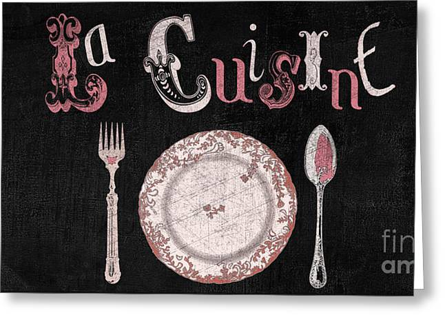 La Cuisine Vintage Dinner Plate Greeting Card by Mindy Sommers