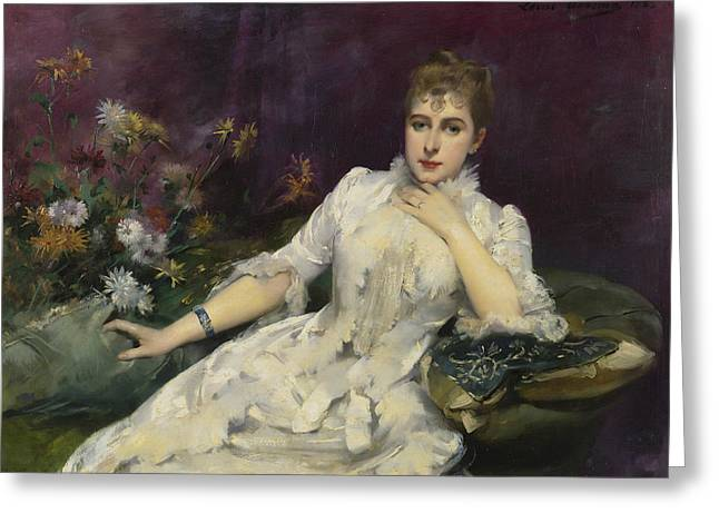 Portrait Of Woman Greeting Cards - La dame avec les fleurs Greeting Card by Louise Abbema