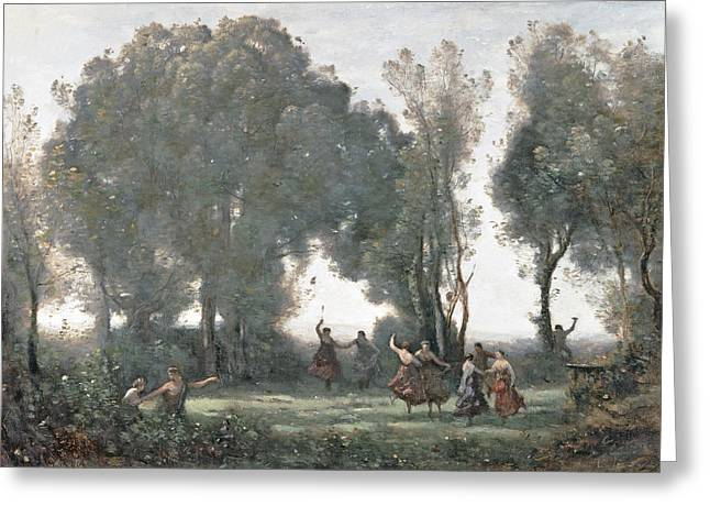 Corot Greeting Cards - La Danse des Nymphes Greeting Card by Jean Baptiste Camille Corot