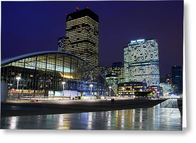 Paris At Night Greeting Cards - La Defense Paris Greeting Card by Bakhtiar Umataliev