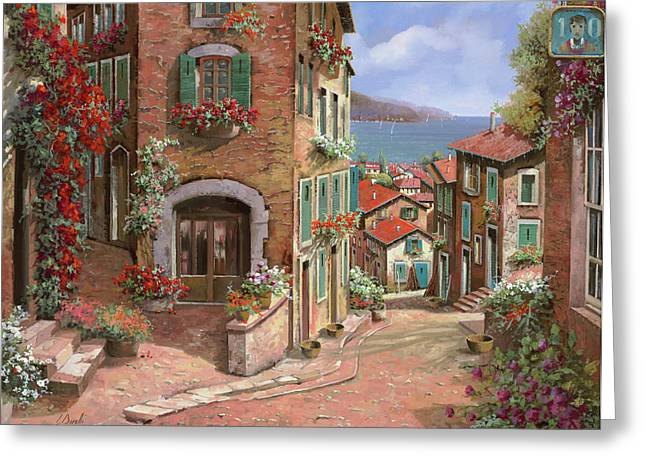La Discesa Al Mare Greeting Card by Guido Borelli