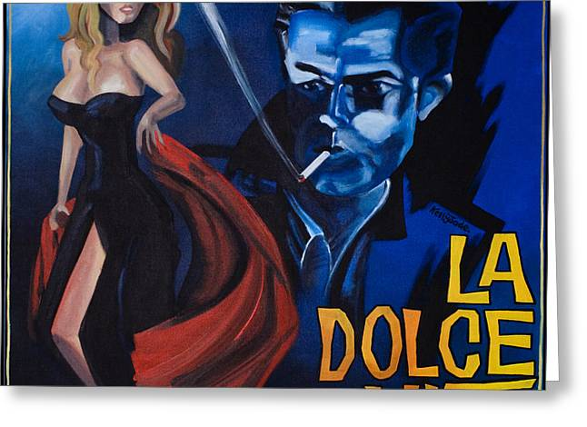 1950 Movies Greeting Cards - La Dolce Vita Greeting Card by Kelly Jade King