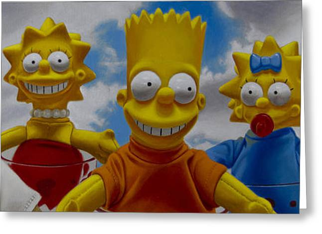 Photo-realism Greeting Cards - La Famiglia Simpson Greeting Card by Tony Chimento