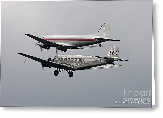 Ju 52 Greeting Cards - La Ferte Alais 2010 Greeting Card by Antoine Roels