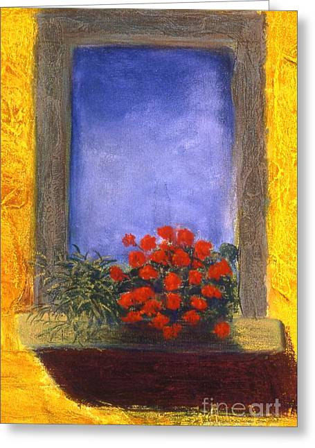 Flower Boxes Pastels Greeting Cards - La  Finstra con  i Fiori Greeting Card by Mary Erbert