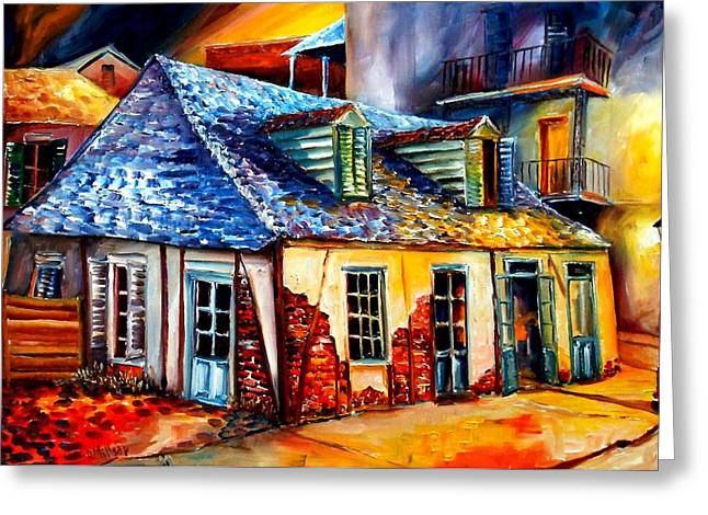Pirates Paintings Greeting Cards - La Fittes Blacksmith Shop Greeting Card by Diane Millsap