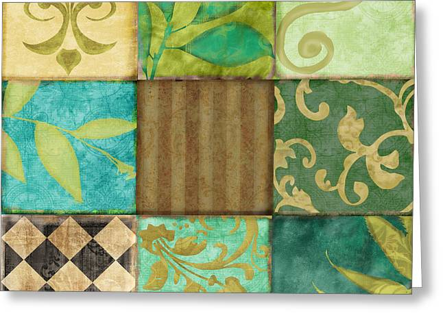 Checkerboard Greeting Cards - La Fleurs de la Terre Greeting Card by Mindy Sommers