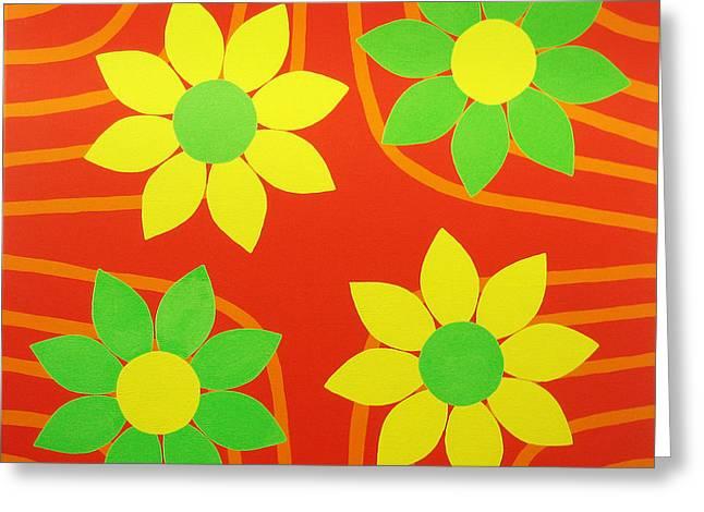 La Flor De La Vida Greeting Card by Oliver Johnston