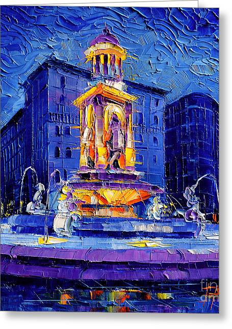 Abstract Oil Greeting Cards - La Fontaine Des Jacobins Greeting Card by Mona Edulesco