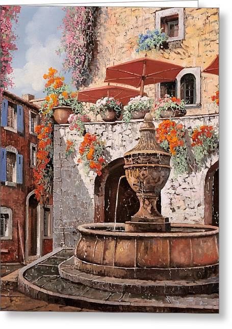 Aged Art Greeting Cards - la fontana a St Paul de Vence Greeting Card by Guido Borelli