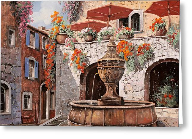 Umbrella Greeting Cards - la fontana a St Paul de Vence Greeting Card by Guido Borelli