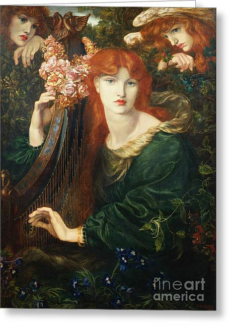 Redhead Greeting Cards - La Ghirlandata Greeting Card by Dante Charles Gabriel Rossetti