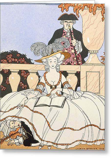 Potted Plants Drawings Greeting Cards - La Guirlande Greeting Card by Georges Barbier