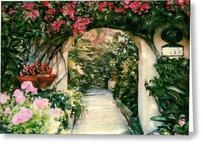 Entryway Mixed Media Greeting Cards - La Jolla Bed and Breakfast Greeting Card by Linda Scharck
