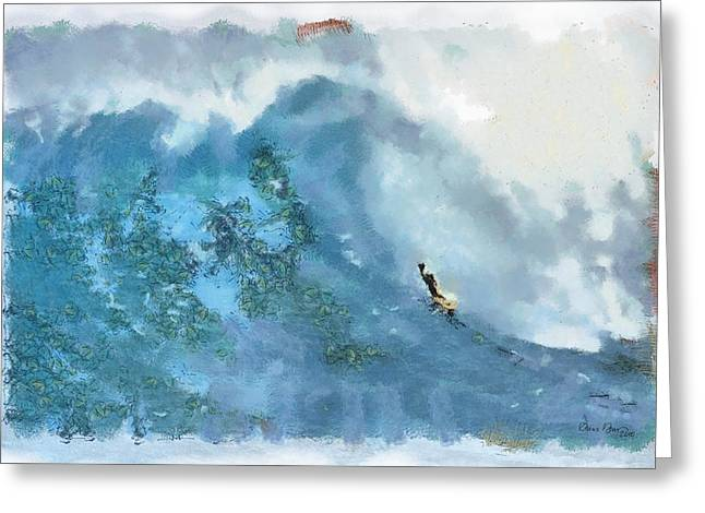 Surf Art Digital Art Greeting Cards - La Jolla Big Surf Greeting Card by Russ Harris