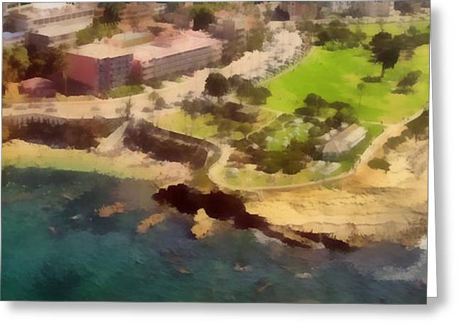 Clouds Photographs Digital Greeting Cards - La Jolla Cove Aerial Greeting Card by Russ Harris