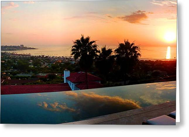 La Jolla Art Greeting Cards - La Jolla Panorama Photo - Sunset Greeting Card by Russ Harris