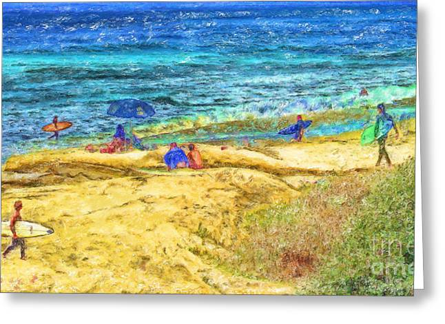 Marilyn Sholin Mixed Media Greeting Cards - La Jolla Surfing Greeting Card by Marilyn Sholin