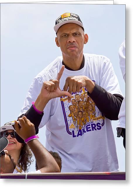Lakers Greeting Cards - LA Kareem Greeting Card by Carl Jackson