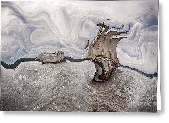 Abstract Realism Digital Greeting Cards - Le Vent dans les Voiles - 51o - Sea Boat Series Greeting Card by Variance Collections