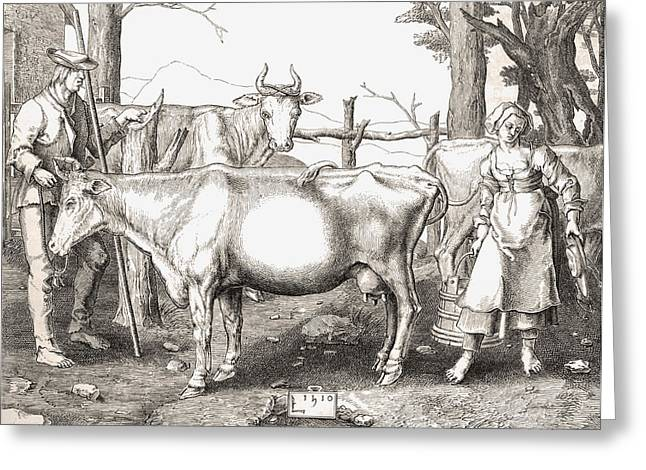 Cow Drawings Greeting Cards - La Laitiere Or The Milkmaid By Lucas Greeting Card by Ken Welsh