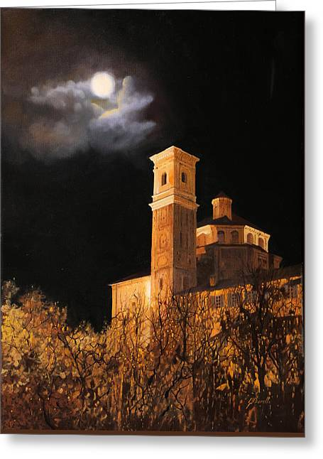 Luna Greeting Cards - la luna a Cherasco Greeting Card by Guido Borelli