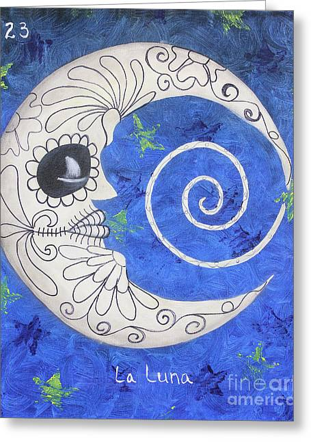 Luna Mixed Media Greeting Cards - La Luna Greeting Card by Sonia Flores Ruiz