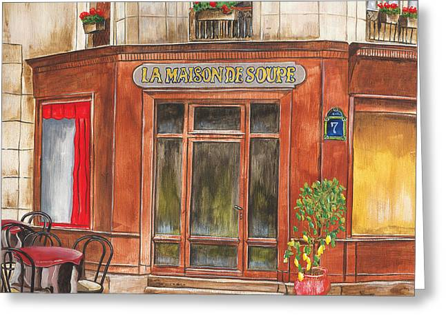 Geranium Greeting Cards - La Maison de Soupe Greeting Card by Debbie DeWitt