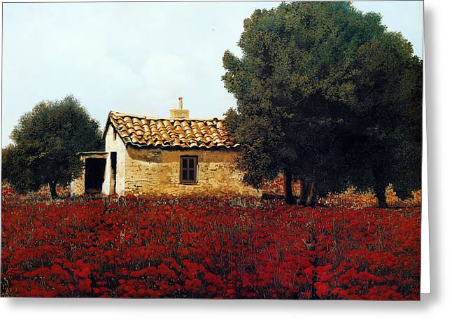La Masseria Tra I Papaveri Greeting Card by Guido Borelli