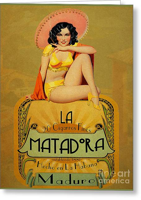 Vintage Pinup Greeting Cards - la Matadora Greeting Card by Cinema Photography