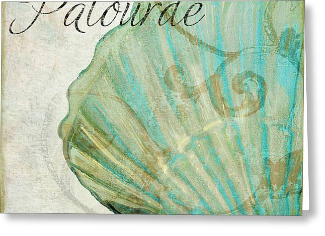 Beach House Paintings Greeting Cards - La Mer II Clam Shell Greeting Card by Mindy Sommers