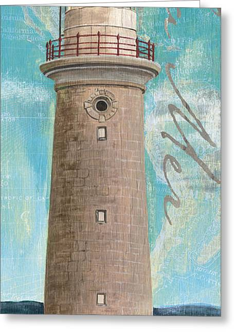 Ocean Shore Greeting Cards - La Mer Lighthouse Greeting Card by Debbie DeWitt
