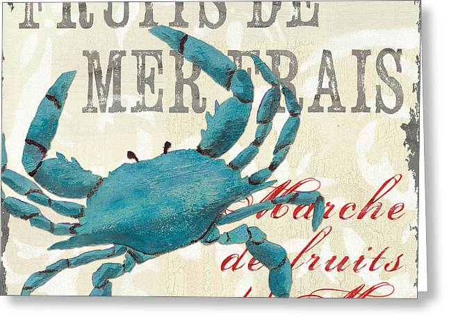 Crab Greeting Cards - La Mer Shellfish 1 Greeting Card by Debbie DeWitt
