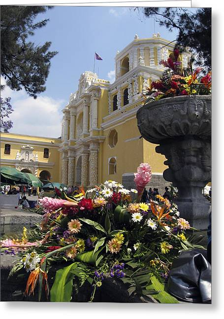 Church Greeting Cards - La Merced Church Antigua Greeting Card by Kurt Van Wagner