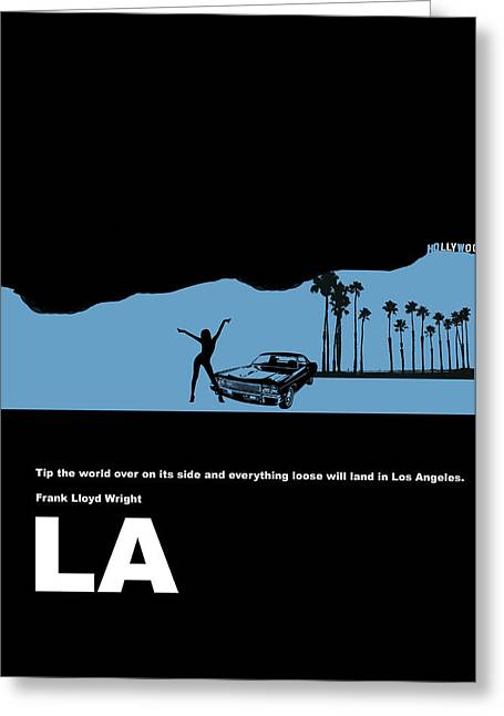 Star Greeting Cards - LA Night Poster Greeting Card by Naxart Studio
