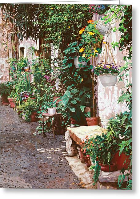 Spring Street Greeting Cards - La Panca Di Pietra Greeting Card by Guido Borelli