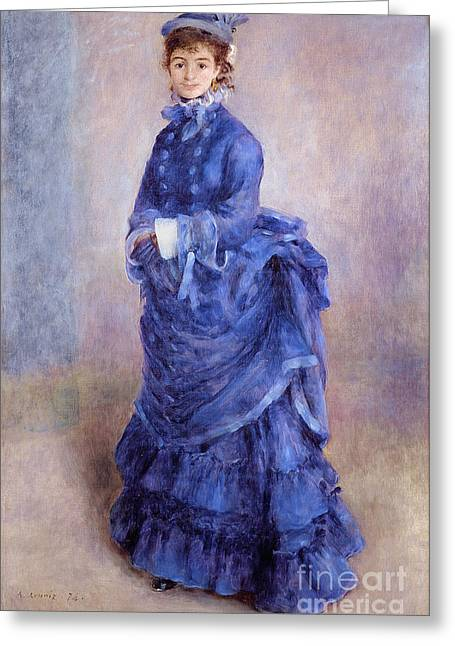 Full-length Portrait Paintings Greeting Cards - La Parisienne The Blue Lady  Greeting Card by Pierre Auguste Renoir