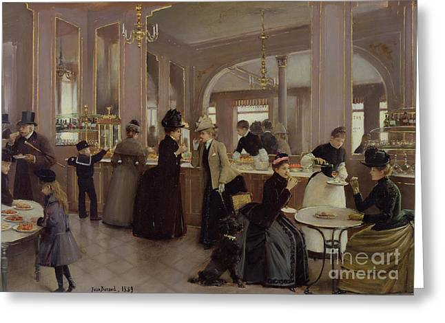 Coffee Drinking Paintings Greeting Cards - La Patisserie Greeting Card by Jean Beraud