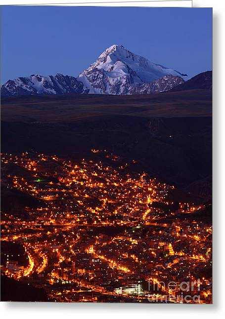 La Paz Greeting Cards - La Paz suburbs and Mt Huayna Potosi Greeting Card by James Brunker