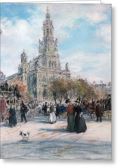 Dog Walking Greeting Cards - La Place de Trinite Greeting Card by Jean Francois Raffaelli
