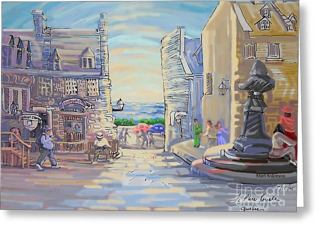 Historic Statue Drawings Greeting Cards - La Place Royale Quebec Greeting Card by Shirl Solomon