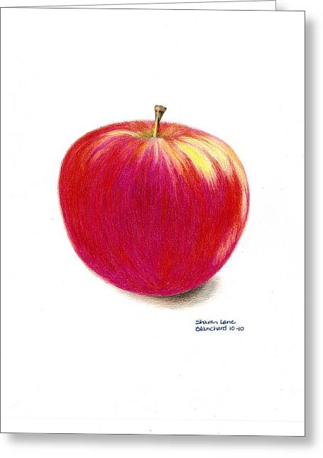 Crisp Drawings Greeting Cards - La Pomme Greeting Card by Sharon Blanchard