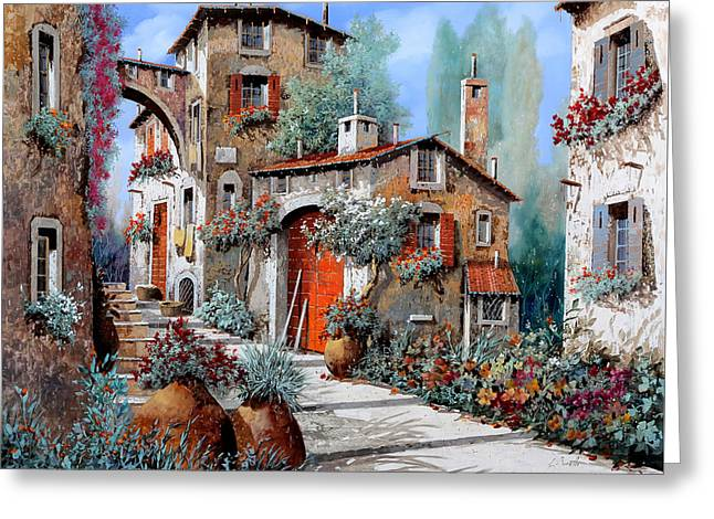 Red Doors Greeting Cards - La Porta Rossa Greeting Card by Guido Borelli